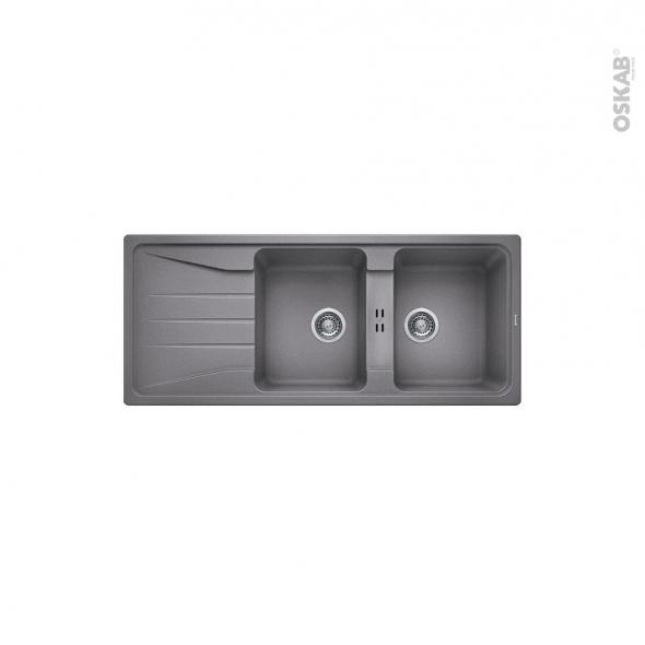 Evier de cuisine - SONA 8S - Granit gris allumatic - 2 bacs égouttoir - à encastrer - BLANCO