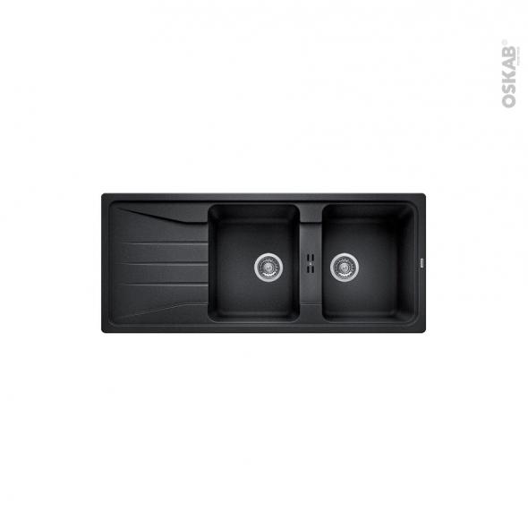 Evier de cuisine - SONA 8S - Granit noir anthracite- 2 bacs égouttoir - à encastrer - BLANCO