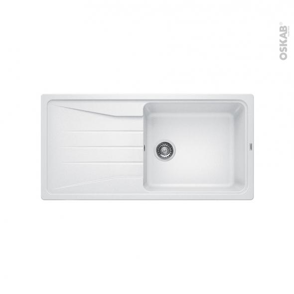 Evier de cuisine - SONA XL 6S - Granit blanc - 1 grand bac égouttoir - à encastrer - BLANCO