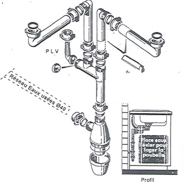 Siphon Evier Lago -  2 cuves