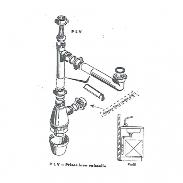 Siphon Evier Lago - 1 cuve