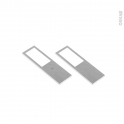 Kit de 2 appliques de cuisine - Eclairage LED rectangle - Finition acier brossé