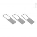 Kit de 3 appliques de cuisine - Eclairage LED rectangle - Finition acier brossé