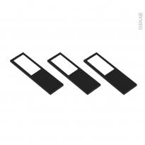 Kit de 3 appliques de cuisine - Eclairage LED rectangle - Finition noir brossé