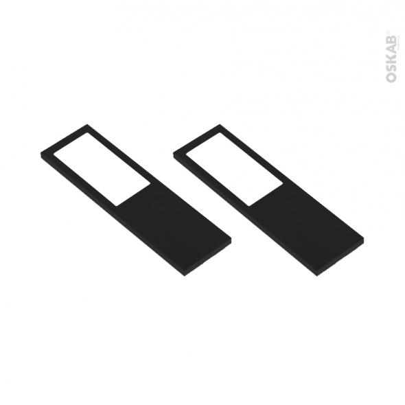Kit de 2 appliques de cuisine - Eclairage LED rectangle - Finition noir brossé