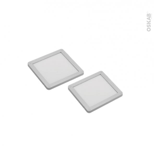 Kit de 2 spots de cuisine - Eclairage LED carré - Finition gris métallique