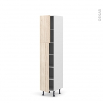 Colonne de cuisine N°1926 - Armoire étagère - IKORO Chêne clair - 2 portes - L40 x H195 x P58 cm