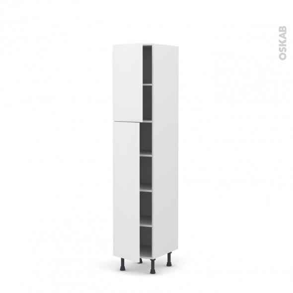 GINKO Blanc - Armoire étagère N°1926  - 2 portes - L40xH195xP58