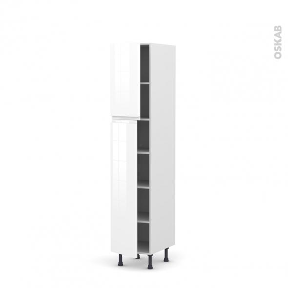 IPOMA Blanc - Armoire étagère N°1926  - 2 portes - L40xH195xP58