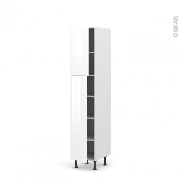 IRIS Blanc - Armoire étagère N°1926  - 2 portes - L40xH195xP58
