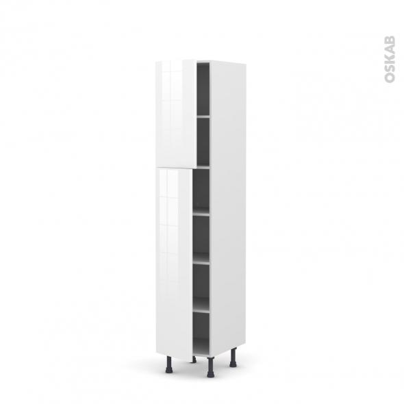 STECIA Blanc - Armoire étagère N°1926  - 2 portes - L40xH195xP58