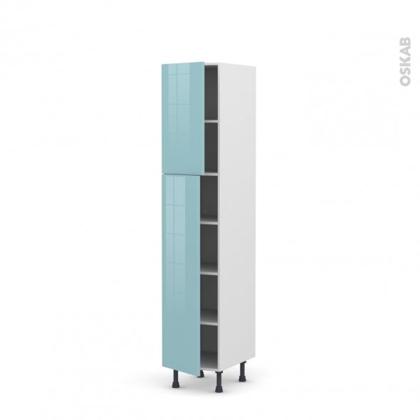 KERIA Bleu - Armoire étagère N°1926  - 2 portes - L40xH195xP58