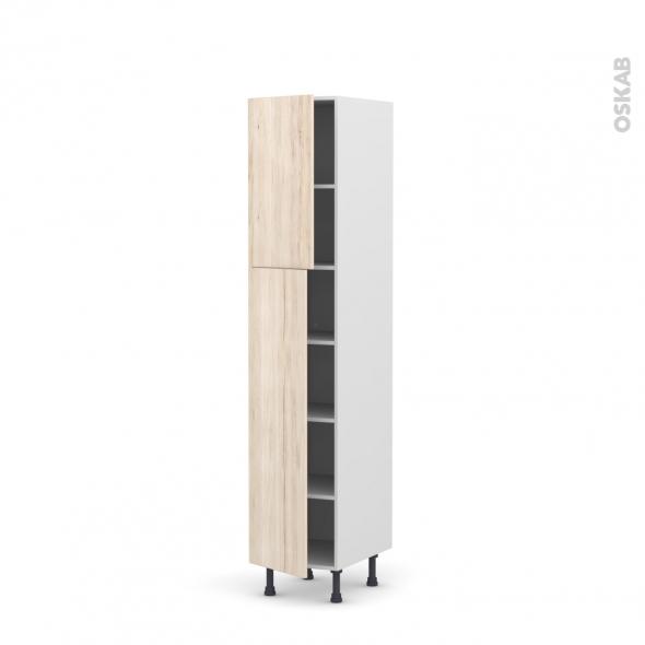 IKORO Chêne clair - Armoire étagère N°1926  - 2 portes - L40xH195xP58