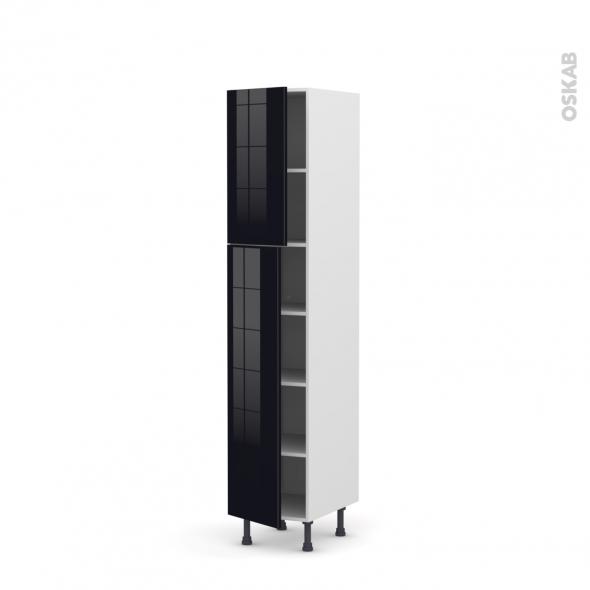 Colonne de cuisine N°1926 - Armoire étagère - KERIA Noir - 2 portes - L40 x H195 x P58 cm