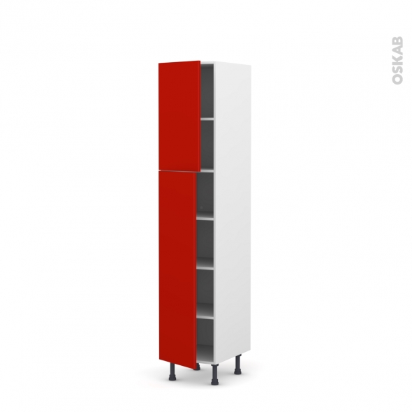 GINKO Rouge - Armoire étagère N°1926  - 2 portes - L40xH195xP58