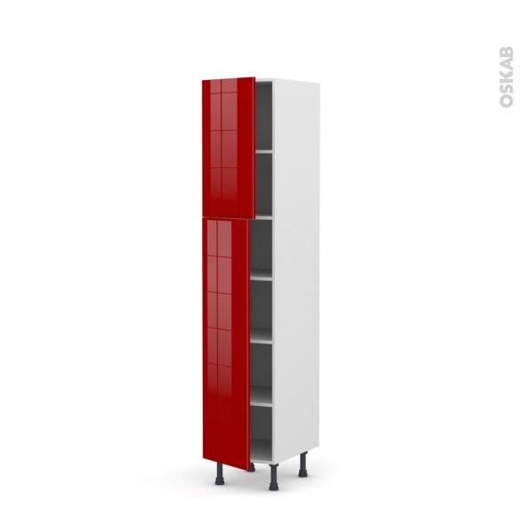 Colonne de cuisine N°1926 - Armoire étagère - STECIA Rouge - 2 portes - L40 x H195 x P58 cm