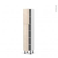 Colonne de cuisine N°1926 - Armoire étagère - IKORO Chêne clair - 2 portes - L40 x H195 x P37 cm