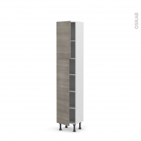 Colonne de cuisine N°1926 - Armoire étagère - STILO Noyer Naturel - 2 portes - L40 x H195 x P37 cm