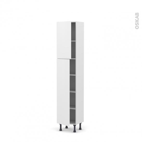 Colonne de cuisine N°1926 - Armoire étagère - GINKO Blanc - 2 portes - L40 x H195 x P37 cm