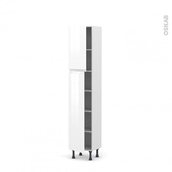 Colonne de cuisine N°1926 - Armoire étagère - IPOMA Blanc brillant - 2 portes - L40 x H195 x P37 cm