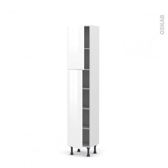 IRIS Blanc - Armoire étagère N°1926   - Prof.37  2 portes - L40xH195xP37