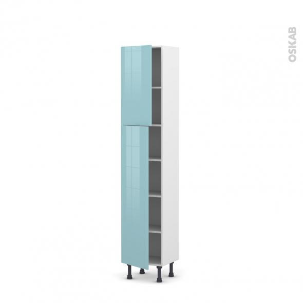 Colonne de cuisine N°1926 - Armoire étagère - KERIA Bleu - 2 portes - L40 x H195 x P37 cm