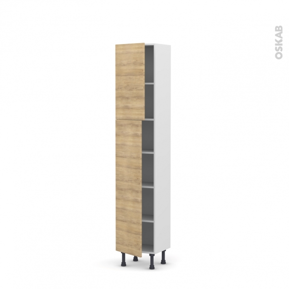 Colonne de cuisine N°1926 - Armoire étagère - HOSTA Chêne naturel - 2 portes - L40 x H195 x P37 cm