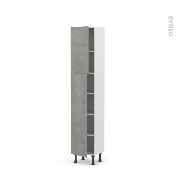 Colonne de cuisine N°1926 - Armoire étagère - FAKTO Béton - 2 portes - L40 x H195 x P37 cm