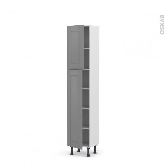 Colonne de cuisine N°1926 - Armoire étagère - FILIPEN Gris - 2 portes - L40 x H195 x P37 cm