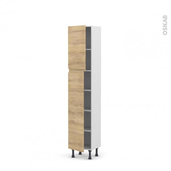 Colonne de cuisine N°1926 - Armoire étagère - IPOMA Chêne naturel - 2 portes - L40 x H195 x P37 cm