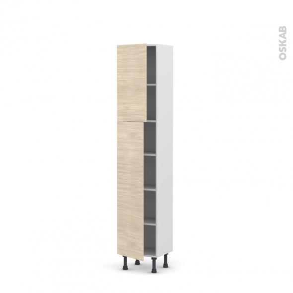 Colonne de cuisine N°1926 - Armoire étagère - STILO Noyer Blanchi - 2 portes - L40 x H195 x P37 cm