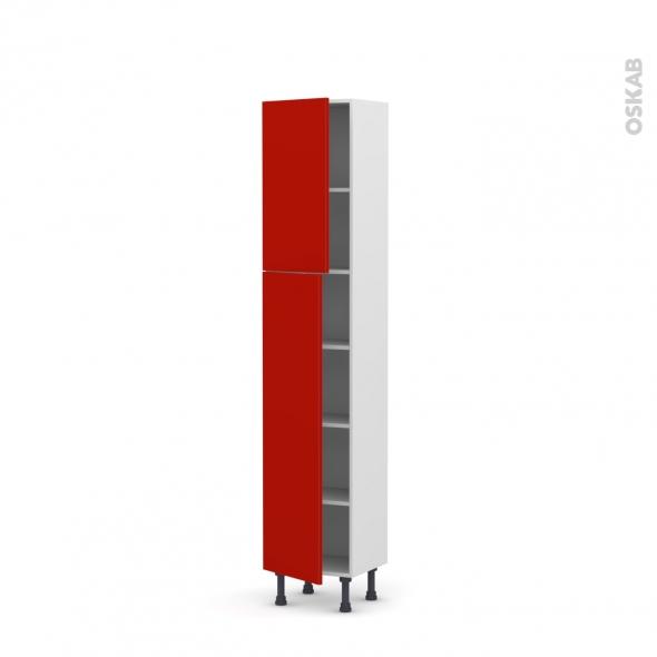 GINKO Rouge - Armoire étagère N°1926   - Prof.37  2 portes - L40xH195xP37
