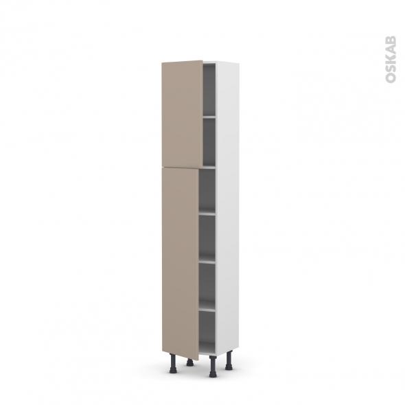 Colonne de cuisine N°1926 - Armoire étagère - GINKO Taupe - 2 portes - L40 x H195 x P37 cm