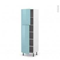 Colonne de cuisine N°2721 - Armoire étagère - KERIA Bleu - 2 portes - L60 x H195 x P58 cm