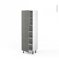 Colonne de cuisine N°2721 - Armoire étagère - FAKTO Béton - 2 portes - L60 x H195 x P58 cm