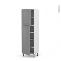 Colonne de cuisine N°2721 - Armoire étagère - FILIPEN Gris - 2 portes - L60 x H195 x P58 cm
