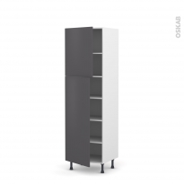Colonne de cuisine N°2721 - Armoire étagère - GINKO Gris - 2 portes - L60 x H195 x P58 cm