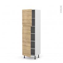 Colonne de cuisine N°2721 - Armoire étagère - IPOMA Chêne naturel - 2 portes - L60 x H195 x P58 cm