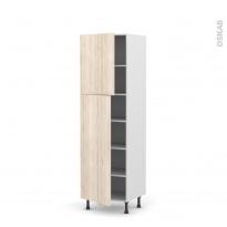 Colonne de cuisine N°2721 - Armoire étagère - IKORO Chêne clair - 2 portes - L60 x H195 x P58 cm