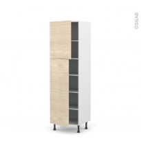 Colonne de cuisine N°2721 - Armoire étagère - STILO Noyer Blanchi - 2 portes - L60 x H195 x P58 cm