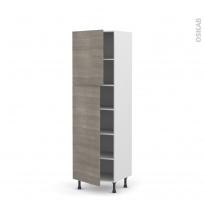Colonne de cuisine N°2721 - Armoire étagère - STILO Noyer Naturel - 2 portes - L60 x H195 x P58 cm