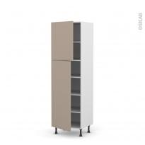 Colonne de cuisine N°2721 - Armoire étagère - GINKO Taupe - 2 portes - L60 x H195 x P58 cm