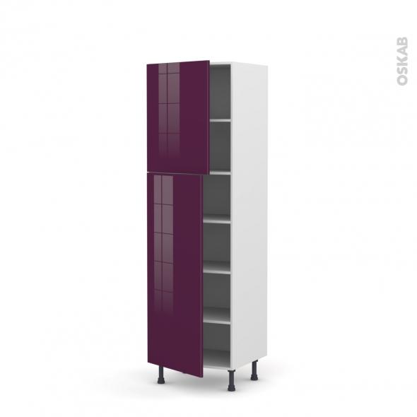Colonne de cuisine N°2721 - Armoire étagère - KERIA Aubergine - 2 portes - L60 x H195 x P58 cm