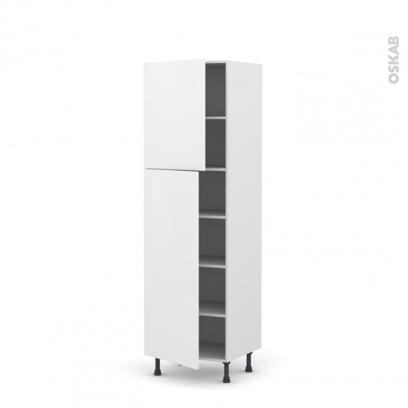 Colonne de cuisine N°2721 - Armoire étagère - GINKO Blanc - 2 portes - L60 x H195 x P58 cm