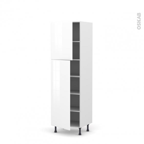 Colonne de cuisine N°2721 - Armoire étagère - IRIS Blanc - 2 portes - L60 x H195 x P58 cm