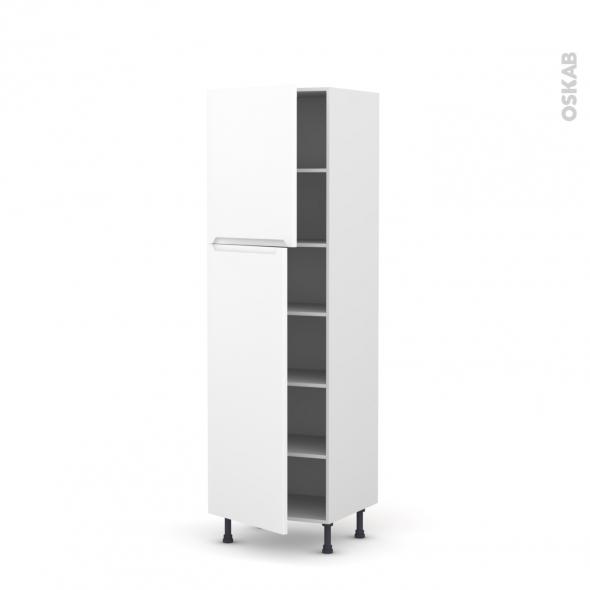 PIMA Blanc - Armoire étagère N°2721  - 2 portes - L60xH195xP58