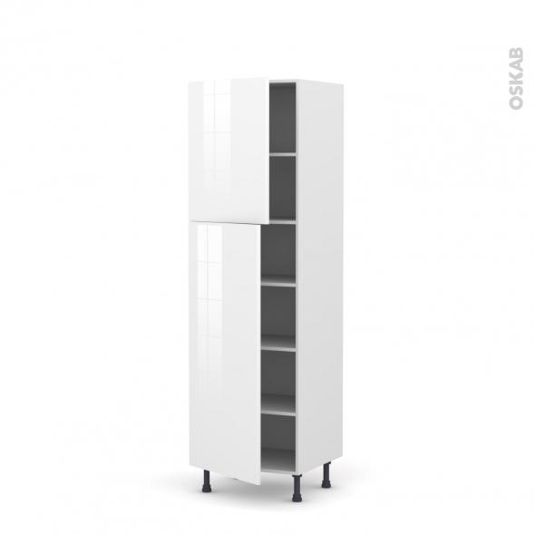 Colonne de cuisine N°2721 - Armoire étagère - STECIA Blanc - 2 portes - L60 x H195 x P58 cm