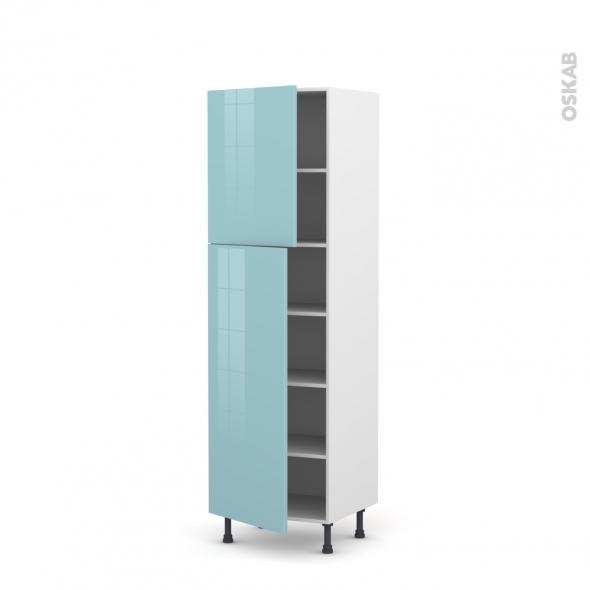 KERIA Bleu - Armoire étagère N°2721  - 2 portes - L60xH195xP58