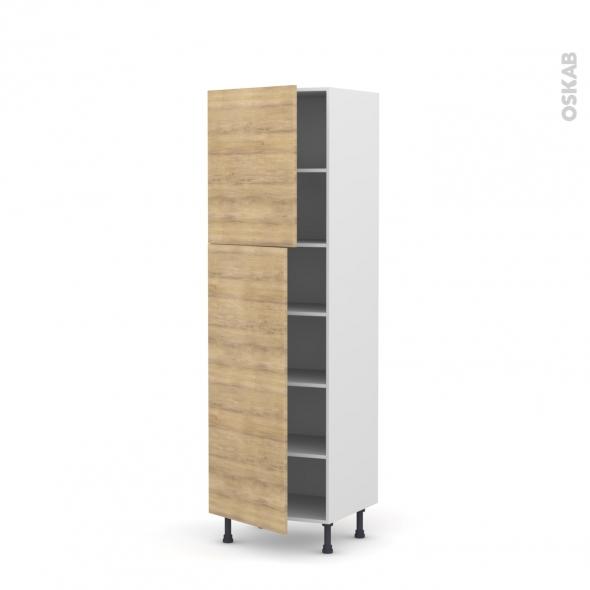 Colonne de cuisine N°2721 - Armoire étagère - HOSTA Chêne naturel - 2 portes - L60 x H195 x P58 cm