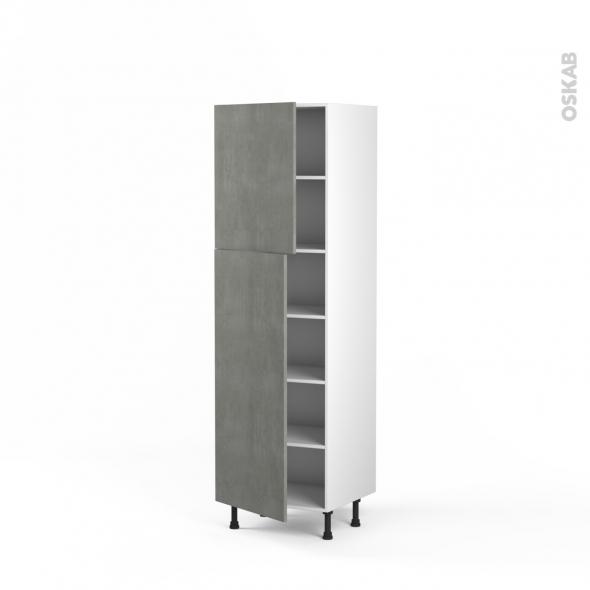 FAKTO Béton - Armoire étagère N°2721  - 2 portes - L60xH195xP58